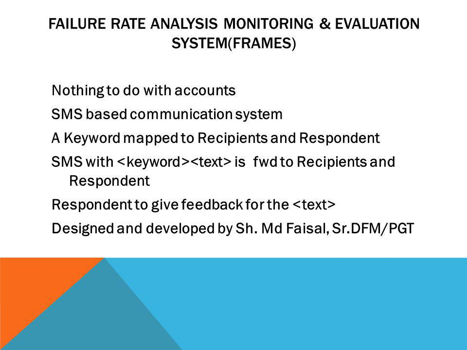 FAILURE RATE ANALYSIS MONITORING & EVALUATION SYSTEM(FRAMES) Nothing to do with accounts SMS based communication system A Keyword mapped to Recipients and Respondent SMS with is fwd to Recipients and Respondent Respondent to give feedback for the Designed and developed by Sh.