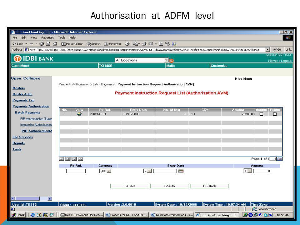 Authorisation at ADFM level