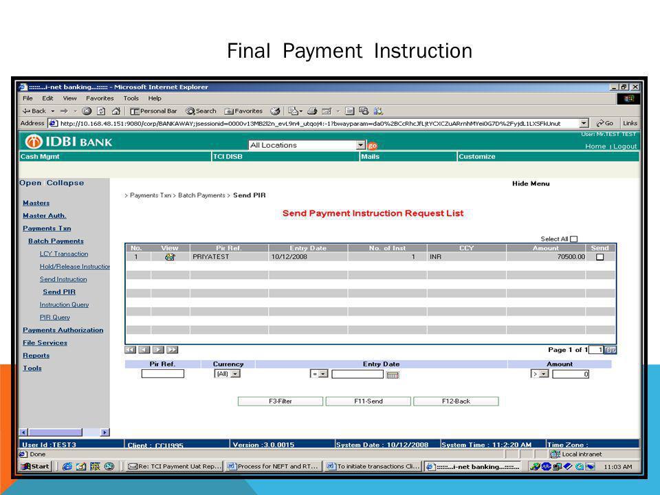 Final Payment Instruction