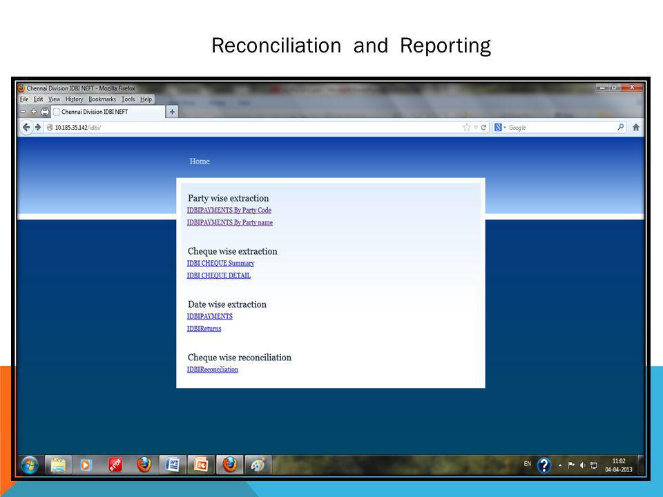 Reconciliation and Reporting