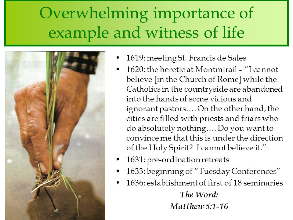 Overwhelming importance of example and witness of life 1619: meeting St.