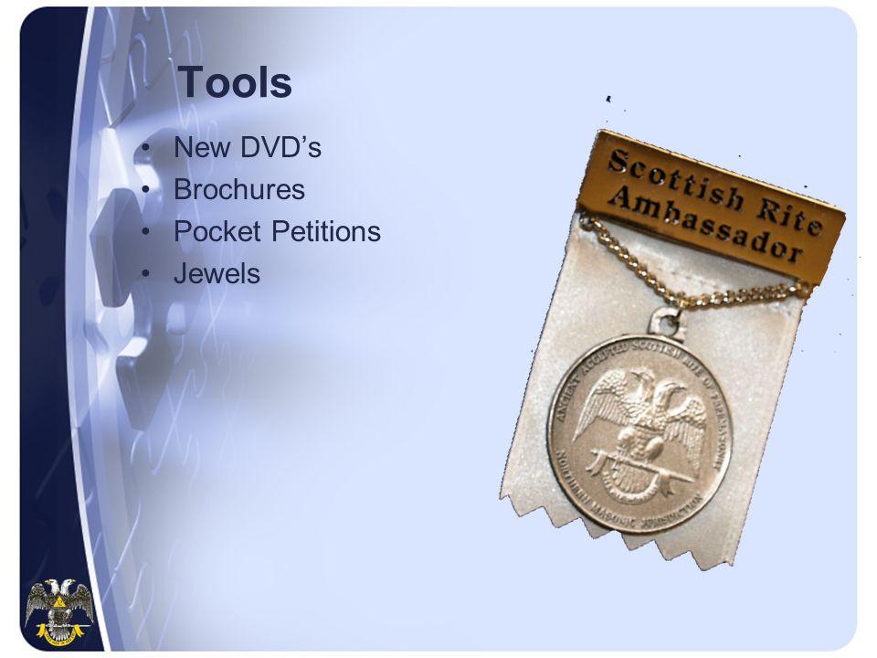 Tools New DVD's Brochures Pocket Petitions Jewels