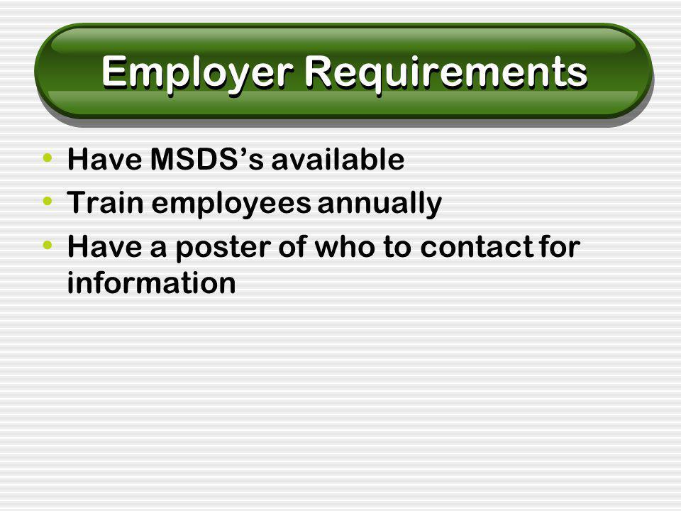 Employer Requirements Have MSDS's available Train employees annually Have a poster of who to contact for information