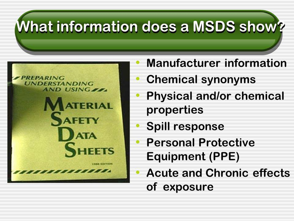 What information does a MSDS show.