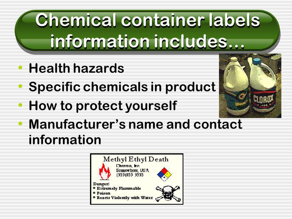 Color Coded Labels Many chemical manufacturers use color coded labels so that incompatible materials and chemicals with different hazard characteristics can be properly segregated from each other.