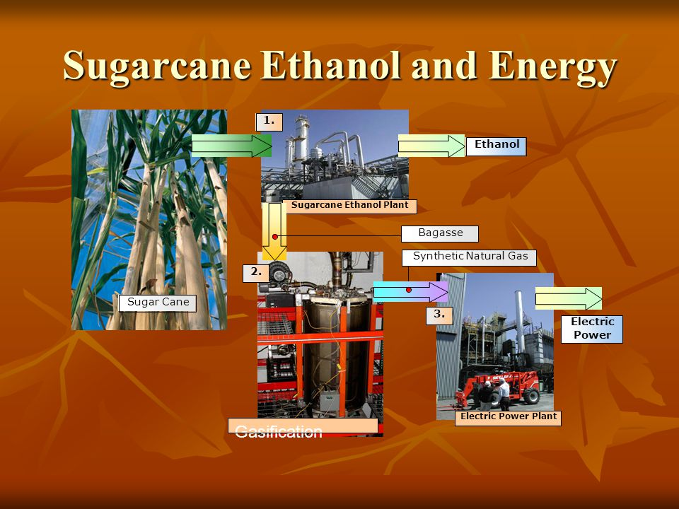 Sugarcane Ethanol and Energy Sugarcane Ethanol Plant Gasification Electric Power Plant Sugar Cane Synthetic Natural Gas Ethanol Electric Power 1.