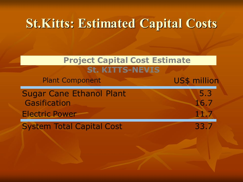St.Kitts: Estimated Capital Costs Plant Component US$ million Sugar Cane Ethanol Plant 5.3 Gasification16.7 Electric Power11.7 System Total Capital Cost33.7 Project Capital Cost Estimate St.