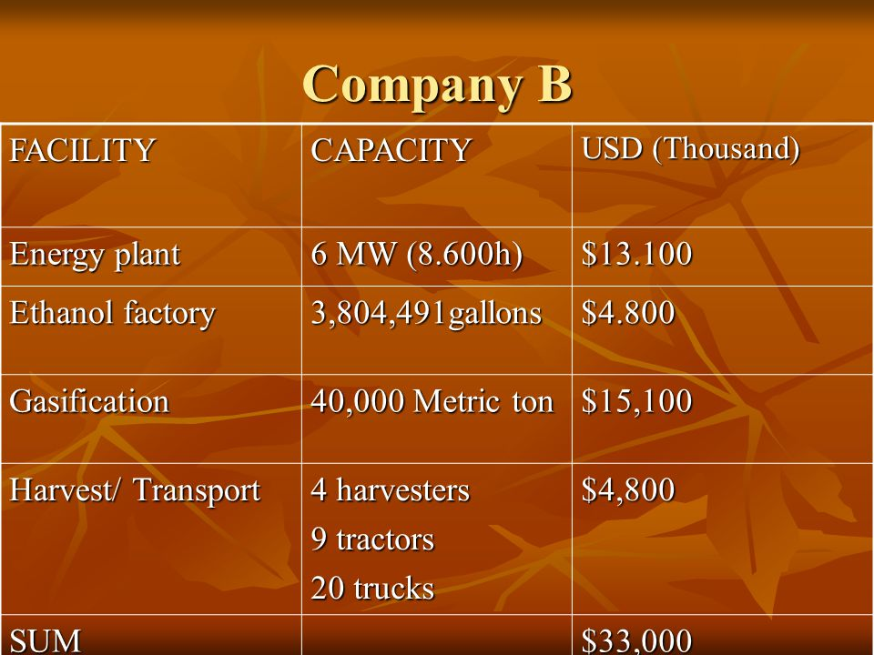 Company B FACILITYCAPACITY USD (Thousand) Energy plant 6 MW (8.600h) $13.100 Ethanol factory 3,804,491gallons$4.800 Gasification 40,000 Metric ton $15,100 Harvest/ Transport 4 harvesters 9 tractors 20 trucks $4,800 SUM$33,000