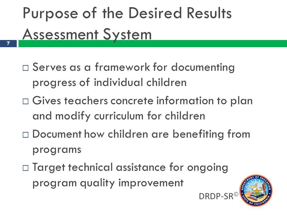 Earliest DRDP-PS level unique to preschool Middle levels overlap with DRDP-SR DRDP-SR/DRDP-PS Linkage Latest DRDP-SR level is unique to kinder- garten DRDP-PS DRDP-SR