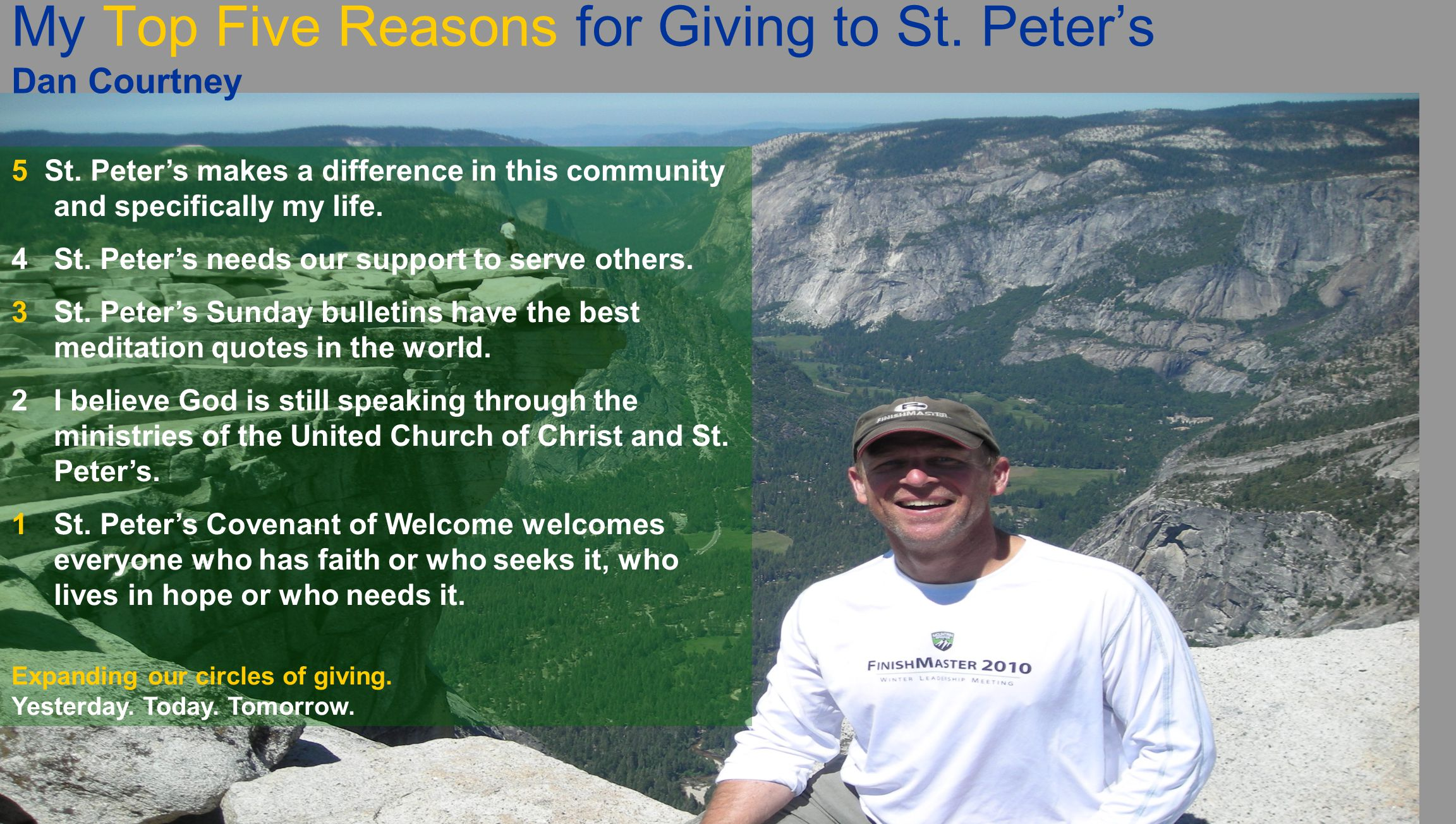 My Top Five Reasons for Giving to St. Peter's Dan Courtney 5 St.