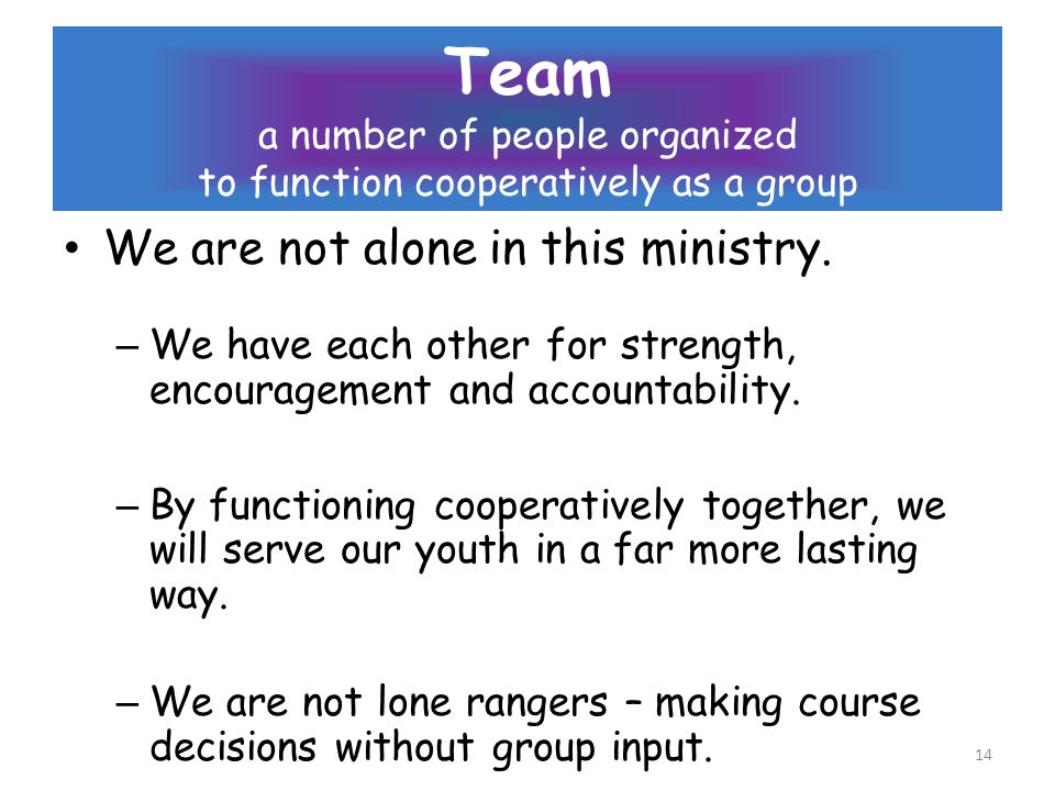 Team a number of people organized to function cooperatively as a group We are not alone in this ministry.