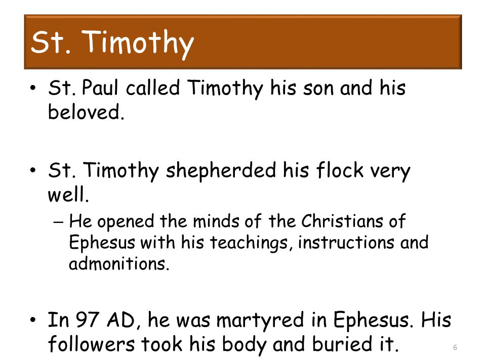 St. Timothy St. Paul called Timothy his son and his beloved.