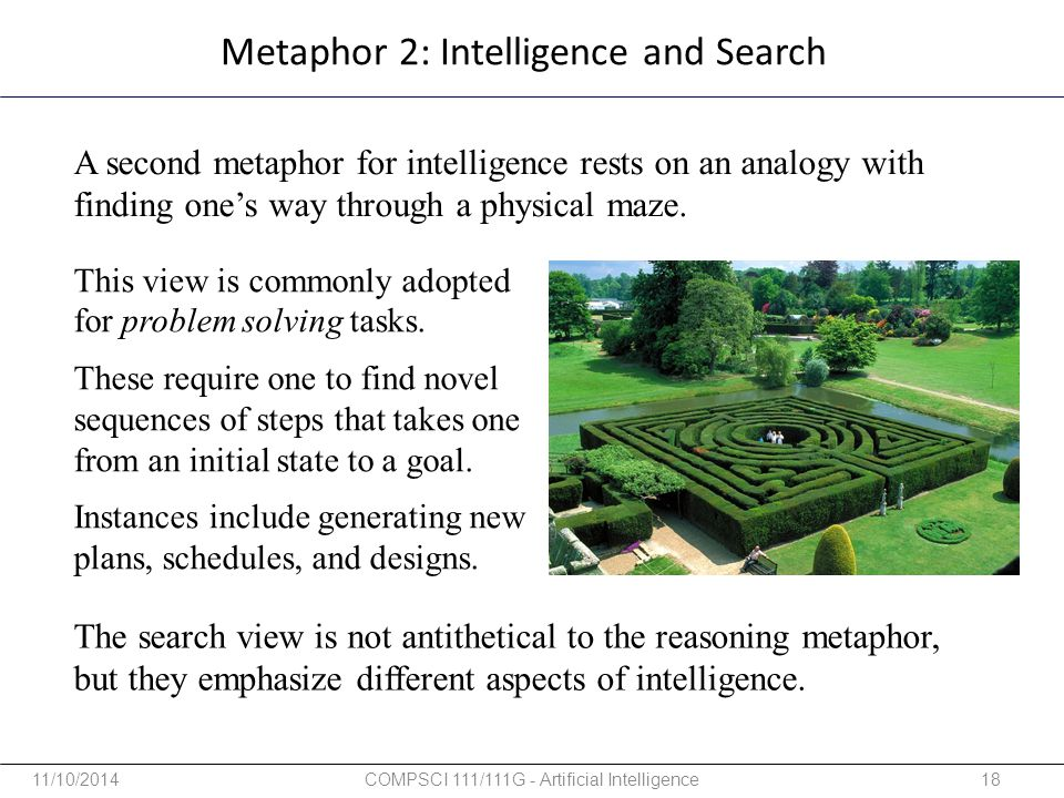 Metaphor 2: Intelligence and Search A second metaphor for intelligence rests on an analogy with finding one's way through a physical maze. This view i