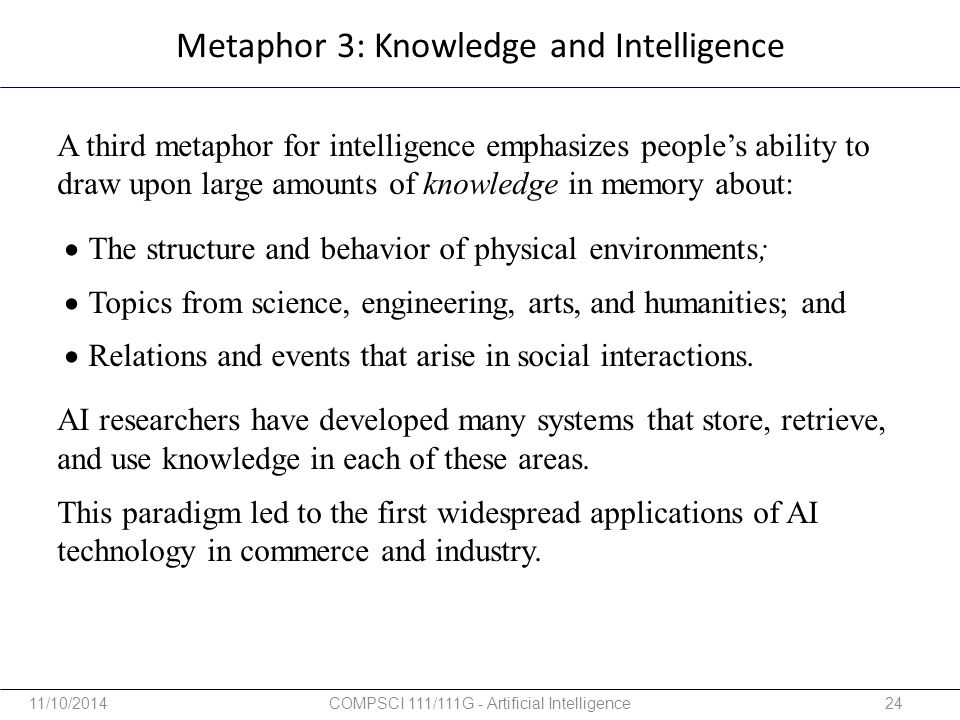 Metaphor 3: Knowledge and Intelligence A third metaphor for intelligence emphasizes people's ability to draw upon large amounts of knowledge in memory
