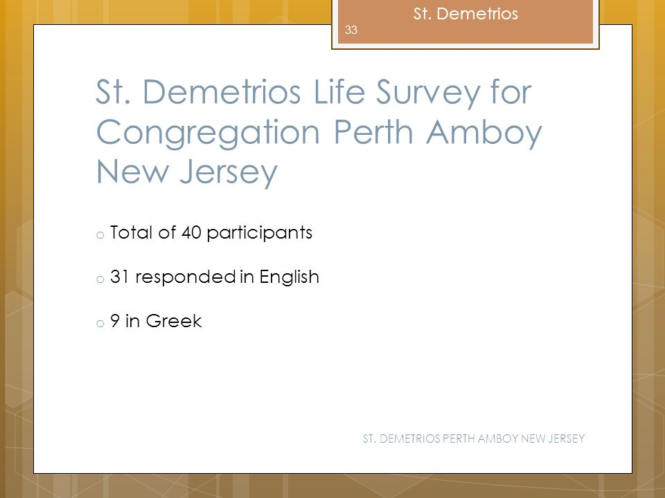 St. Demetrios St. Demetrios Life Survey for Congregation Perth Amboy New Jersey o Total of 40 participants o 31 responded in English o 9 in Greek ST.