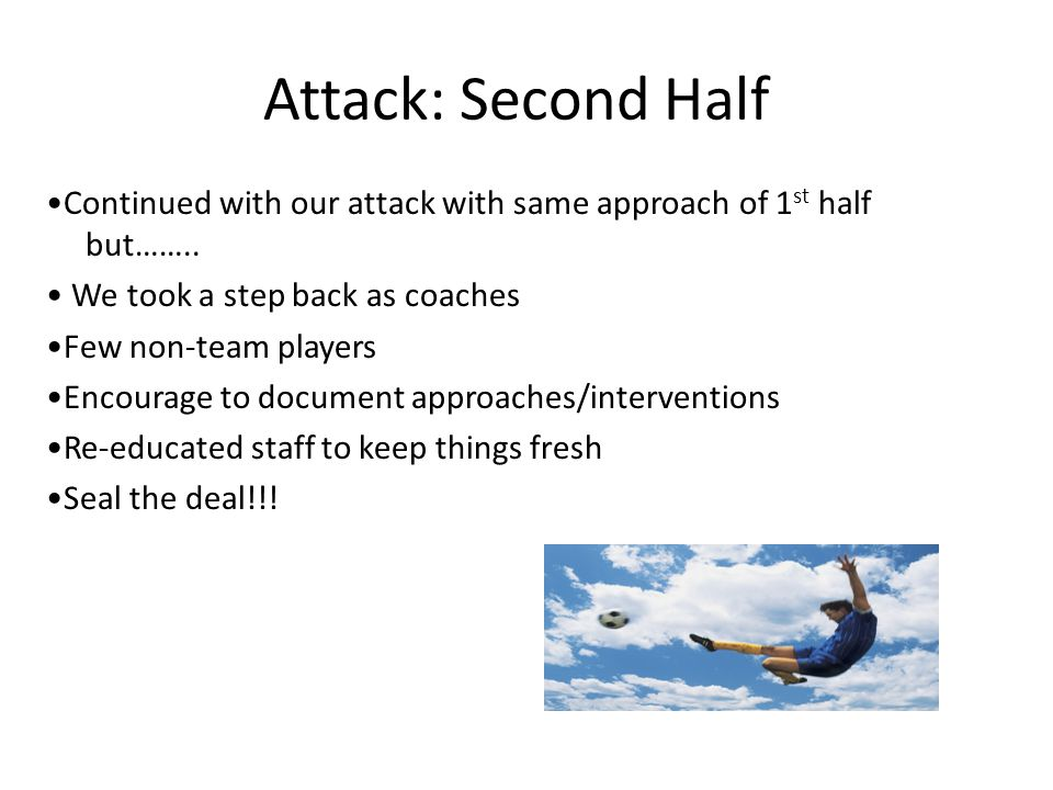Attack: Second Half Continued with our attack with same approach of 1 st half but……..