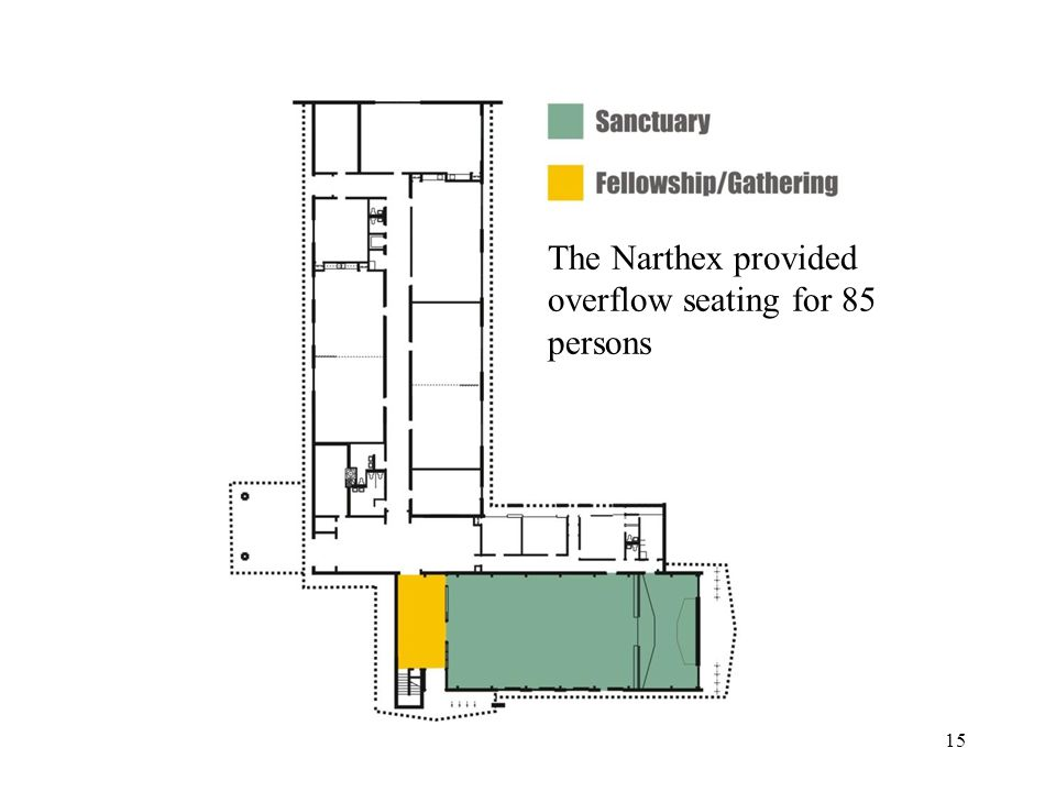 15 The Narthex provided overflow seating for 85 persons