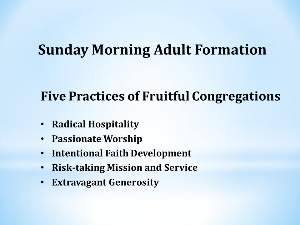 Five Practices of Fruitful Congregations Radical Hospitality Passionate Worship Intentional Faith Development Risk-taking Mission and Service Extravagant Generosity Sunday Morning Adult Formation