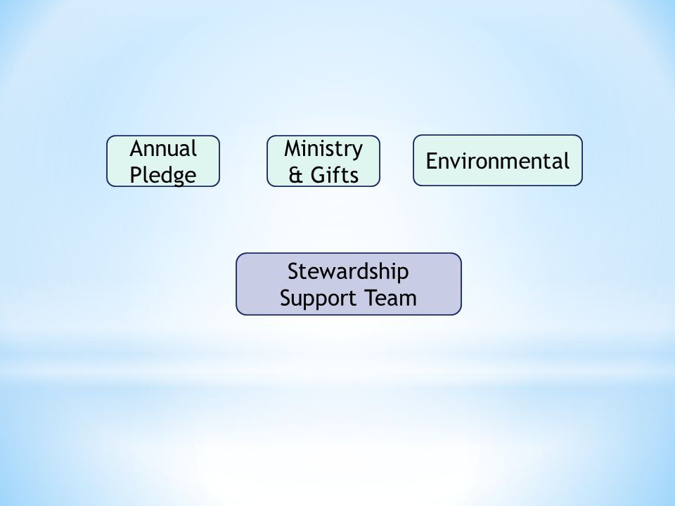 Stewardship Support Team Annual Pledge Ministry & Gifts Environmental