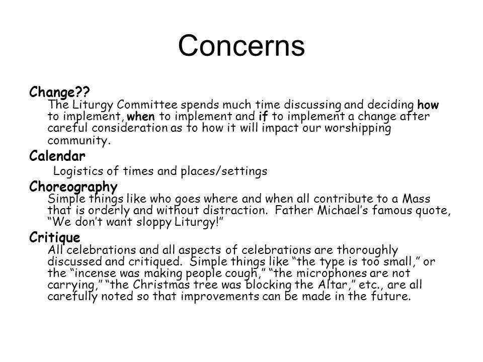 Concerns Change .