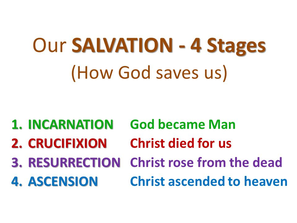 SALVATION - 4 Stages Our SALVATION - 4 Stages (How God saves us) 1.INCARNATION 1.INCARNATIONGod became Man 2.CRUCIFIXION 2.CRUCIFIXIONChrist died for
