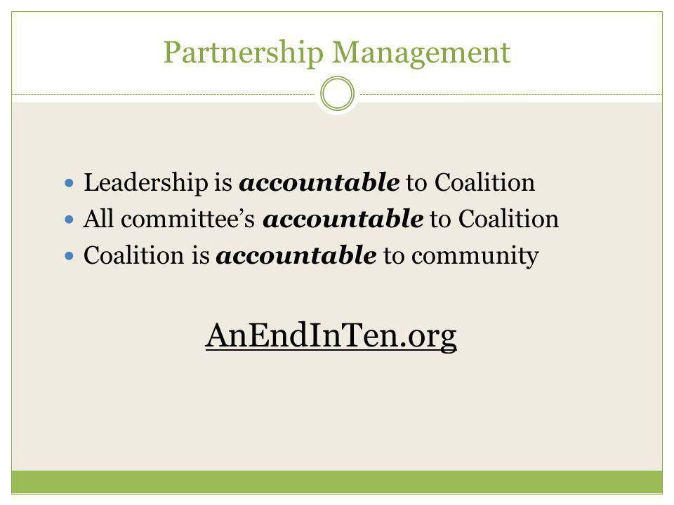 Partnership Management Leadership is accountable to Coalition All committee's accountable to Coalition Coalition is accountable to community AnEndInTen.org