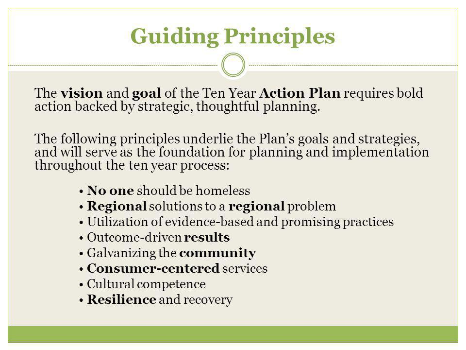 Guiding Principles The vision and goal of the Ten Year Action Plan requires bold action backed by strategic, thoughtful planning.