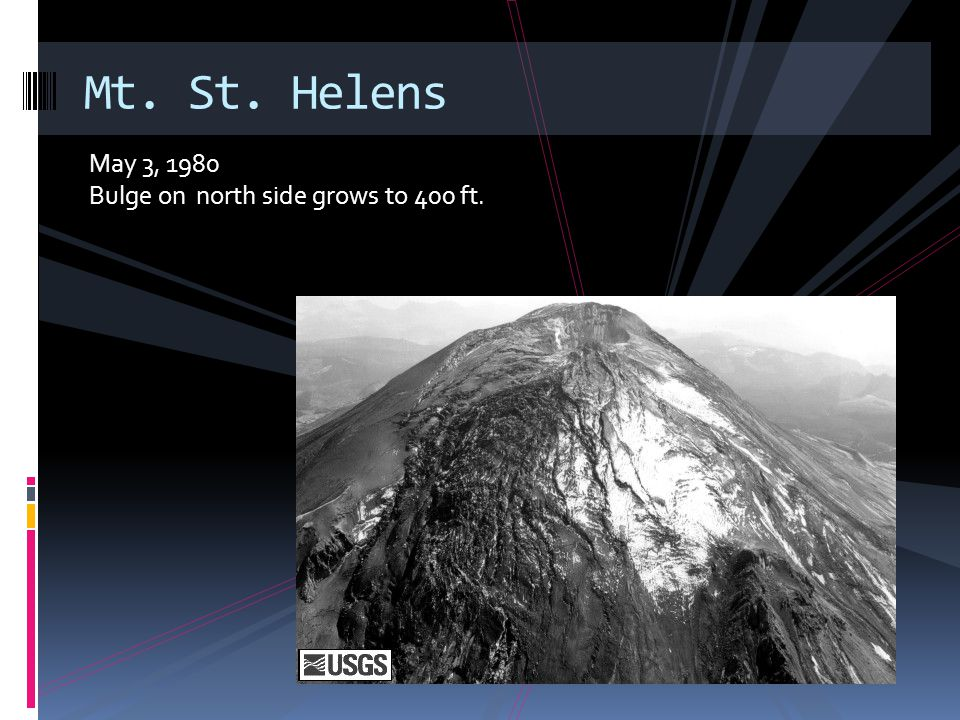 May 3, 1980 Bulge on north side grows to 400 ft. Mt. St. Helens