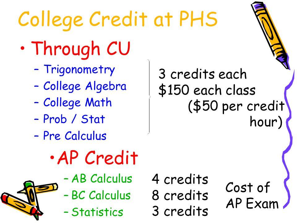 College Credit at PHS Through CU –Trigonometry –College Algebra –College Math –Prob / Stat –Pre Calculus AP Credit –AB Calculus –BC Calculus –Statistics 3 credits each $150 each class ($50 per credit hour) 4 credits 8 credits 3 credits Cost of AP Exam