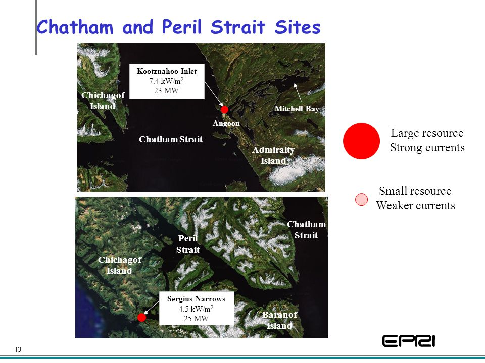 13 Chatham and Peril Strait Sites Peril Strait Chichagof Island Baranof Island Chatham Strait Sergius Narrows 4.5 kW/m 2 25 MW Chatham Strait Admiralt