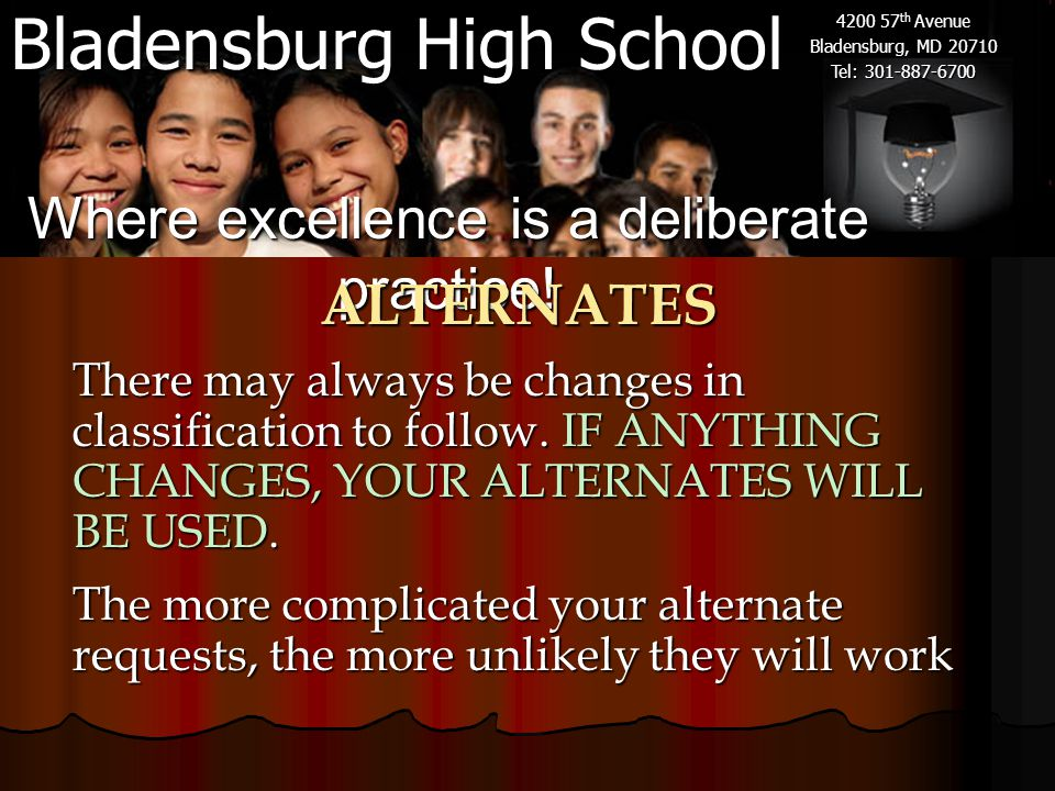 Bladensburg High School 4200 57 th Avenue Bladensburg, MD 20710 Tel: 301-887-6700 There may always be changes in classification to follow. IF ANYTHING