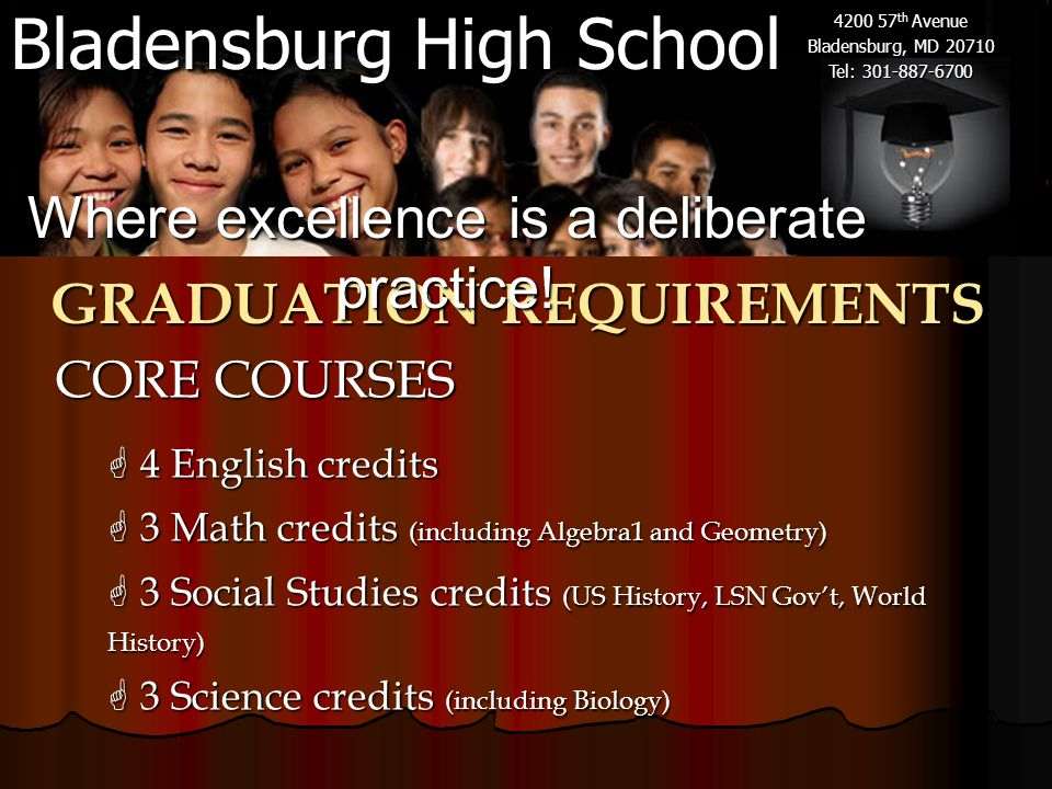 Bladensburg High School 4200 57 th Avenue Bladensburg, MD 20710 Tel: 301-887-6700 GRADUATION REQUIREMENTS CORE COURSES  4 English credits  3 Math credits (including Algebra1 and Geometry)  3 Social Studies credits (US History, LSN Gov't, World History)  3 Science credits (including Biology) Where excellence is a deliberate practice!