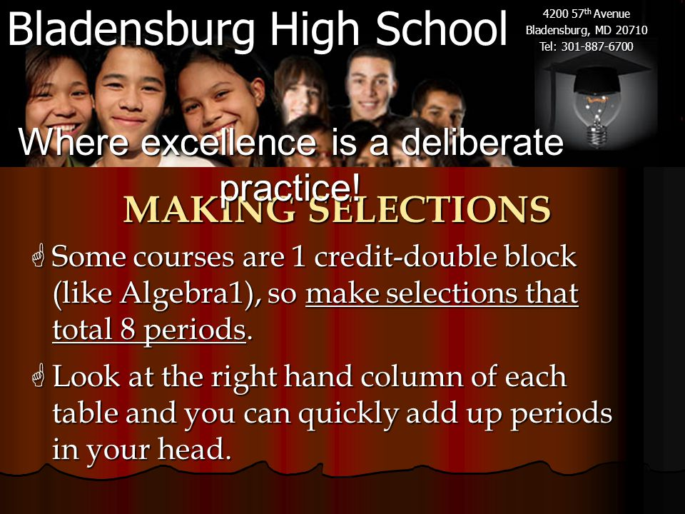 Bladensburg High School 4200 57 th Avenue Bladensburg, MD 20710 Tel: 301-887-6700 MAKING SELECTIONS  Some courses are 1 credit-double block (like Algebra1), so make selections that total 8 periods.