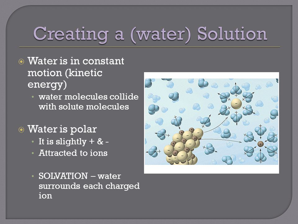  Water is in constant motion (kinetic energy) water molecules collide with solute molecules  Water is polar It is slightly + & - Attracted to ions SOLVATION – water surrounds each charged ion
