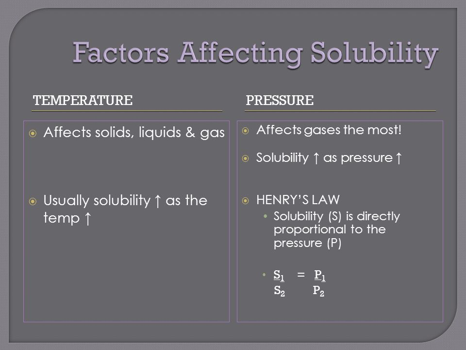 TEMPERATUREPRESSURE  Affects solids, liquids & gas  Usually solubility ↑ as the temp ↑  Affects gases the most.