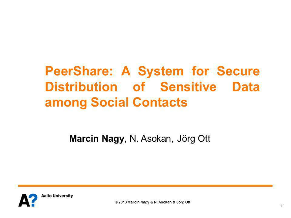 Motivation Key management is difficult Online social networks popular (provide SSO) Observation: Social networks can be used for authentic public keys distribution (SocialKeys project) Concept: Securely distribute application-specific data to a specific set of social contacts 2