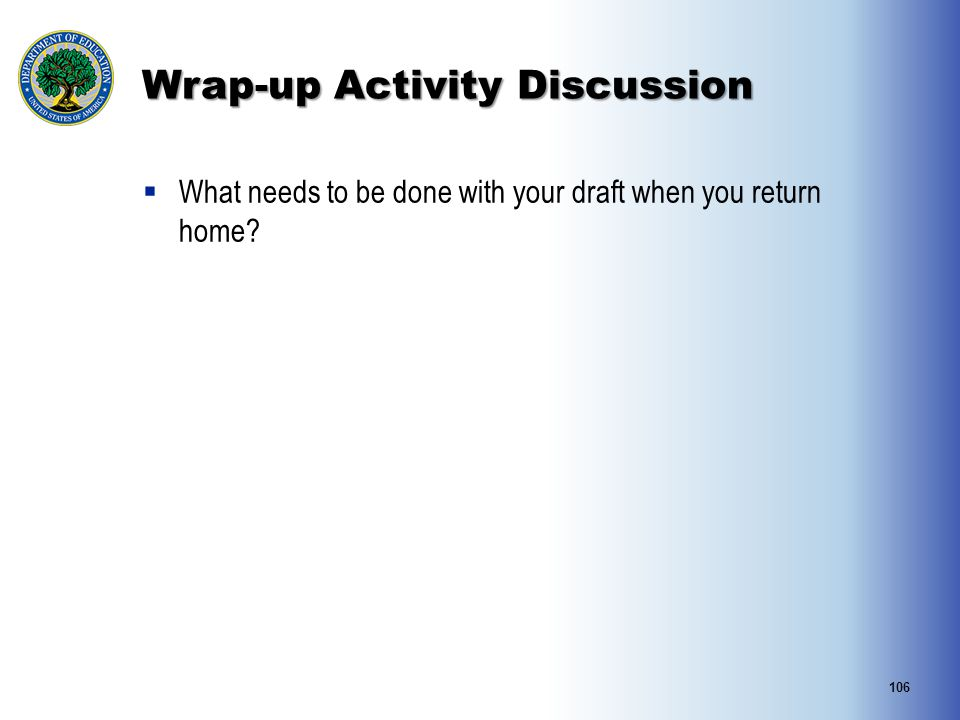 Wrap-up Activity Discussion  What needs to be done with your draft when you return home? 106