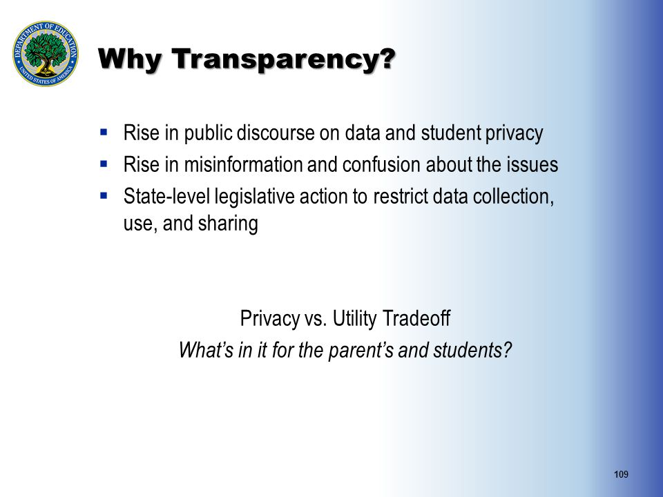 Why Transparency?  Rise in public discourse on data and student privacy  Rise in misinformation and confusion about the issues  State-level legisla