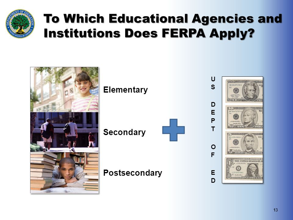 To Which Educational Agencies and Institutions Does FERPA Apply? 13 Elementary Secondary Postsecondary