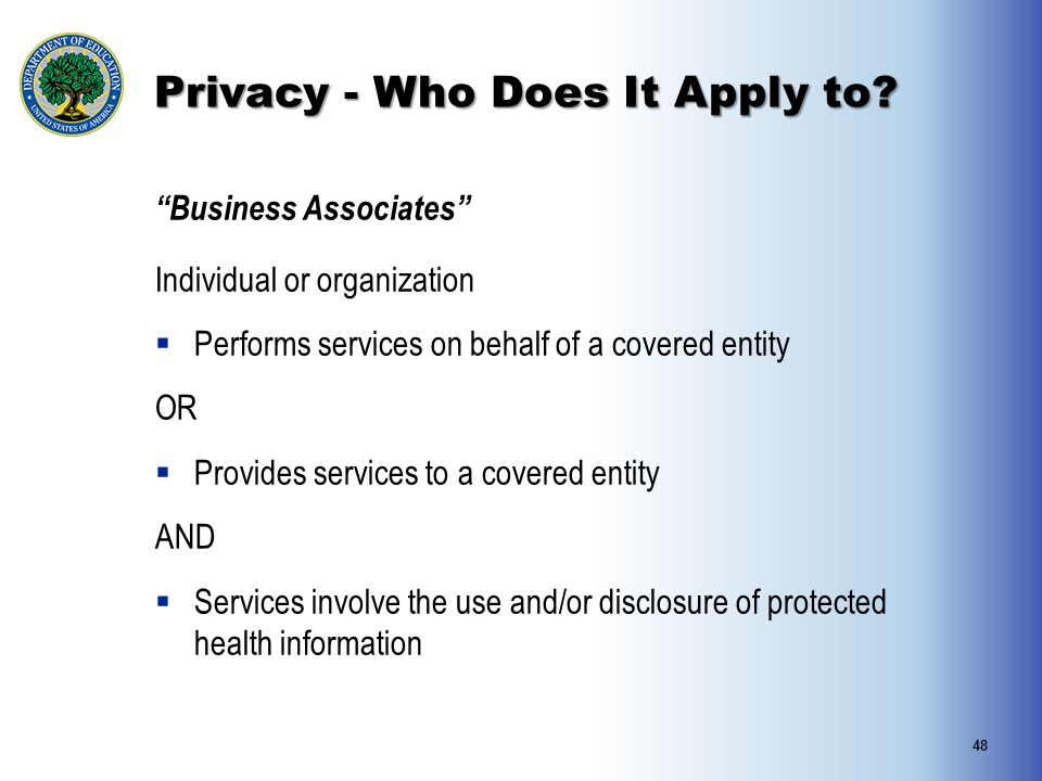 """Privacy - Who Does It Apply to? """"Business Associates"""" Individual or organization  Performs services on behalf of a covered entity OR  Provides servi"""