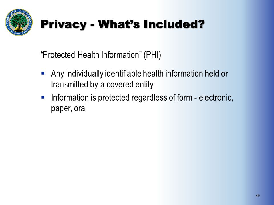 """Privacy - What's Included? """"Protected Health Information"""" (PHI)  Any individually identifiable health information held or transmitted by a covered en"""