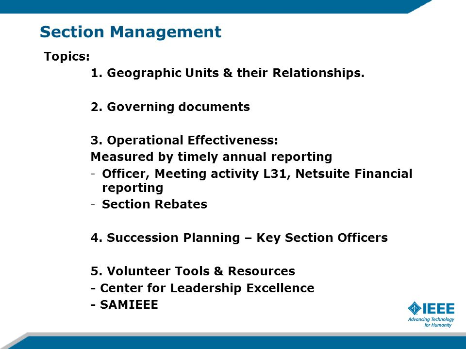 Section Management Topics: 1. Geographic Units & their Relationships.