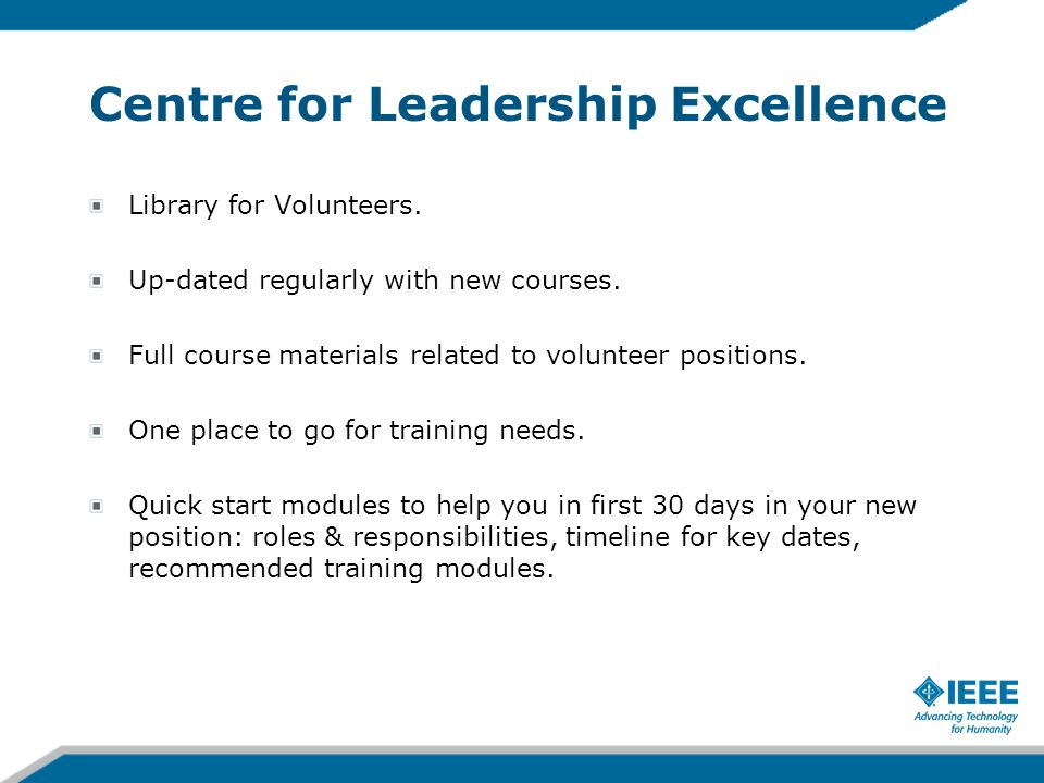 Centre for Leadership Excellence Library for Volunteers.