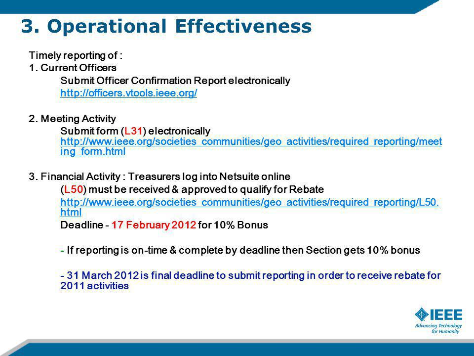 3. Operational Effectiveness Timely reporting of : 1.