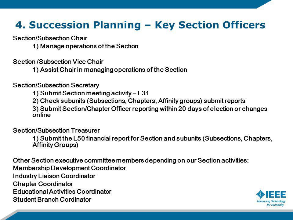 Section/Subsection Chair 1) Manage operations of the Section Section /Subsection Vice Chair 1) Assist Chair in managing operations of the Section Section/Subsection Secretary 1) Submit Section meeting activity – L31 2) Check subunits (Subsections, Chapters, Affinity groups) submit reports 3) Submit Section/Chapter Officer reporting within 20 days of election or changes online Section/Subsection Treasurer 1) Submit the L50 financial report for Section and subunits (Subsections, Chapters, Affinity Groups) Other Section executive committee members depending on our Section activities: Membership Development Coordinator Industry Liaison Coordinator Chapter Coordinator Educational Activities Coordinator Student Branch Cordinator 4.