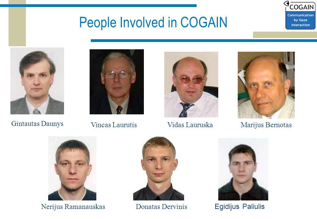 People Involved in COGAIN Gintautas Daunys Vincas LaurutisVidas LauruskaMarijus Bernotas Nerijus RamanauskasDonatas Dervinis Egidijus Paliulis