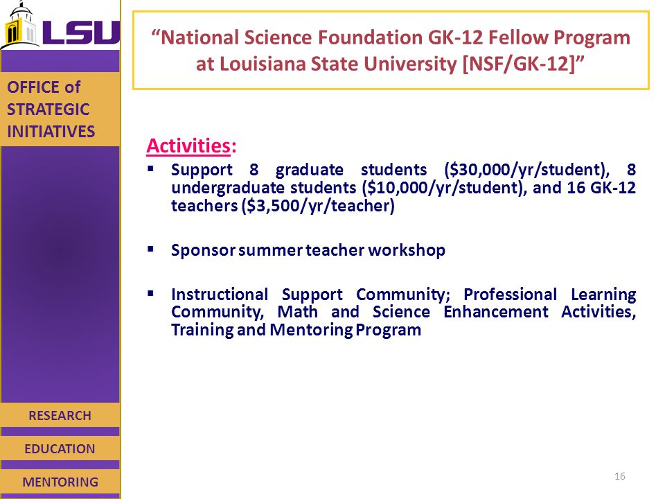RESEARCH EDUCATION MENTORING OFFICE of STRATEGIC INITIATIVES National Science Foundation GK-12 Fellow Program at Louisiana State University [NSF/GK-12] Activities:  Support 8 graduate students ($30,000/yr/student), 8 undergraduate students ($10,000/yr/student), and 16 GK-12 teachers ($3,500/yr/teacher)  Sponsor summer teacher workshop  Instructional Support Community; Professional Learning Community, Math and Science Enhancement Activities, Training and Mentoring Program 16