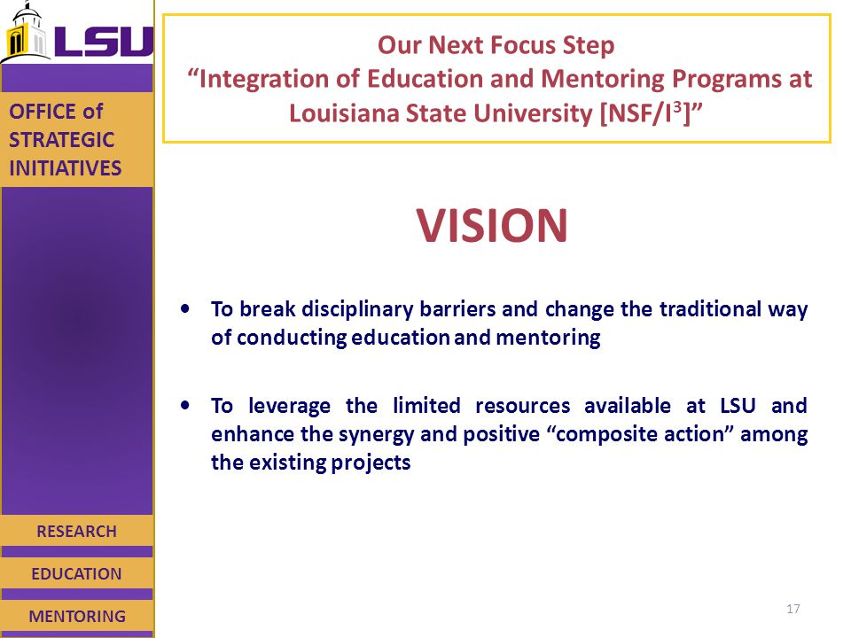 RESEARCH EDUCATION MENTORING OFFICE of STRATEGIC INITIATIVES Our Next Focus Step Integration of Education and Mentoring Programs at Louisiana State University [NSF/I 3 ] VISION To break disciplinary barriers and change the traditional way of conducting education and mentoring To leverage the limited resources available at LSU and enhance the synergy and positive composite action among the existing projects 17