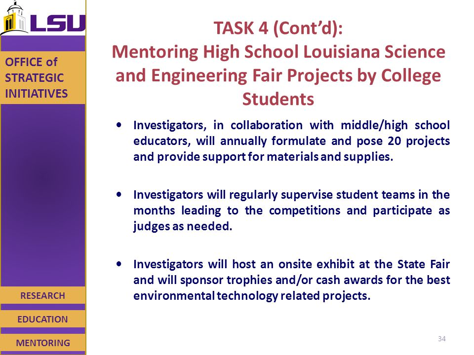 RESEARCH EDUCATION MENTORING OFFICE of STRATEGIC INITIATIVES TASK 4 (Cont'd): Mentoring High School Louisiana Science and Engineering Fair Projects by College Students Investigators, in collaboration with middle/high school educators, will annually formulate and pose 20 projects and provide support for materials and supplies.