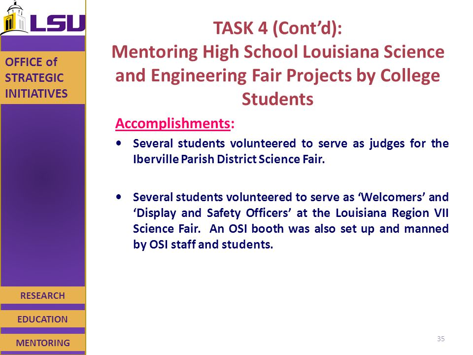RESEARCH EDUCATION MENTORING OFFICE of STRATEGIC INITIATIVES TASK 4 (Cont'd): Mentoring High School Louisiana Science and Engineering Fair Projects by College Students Accomplishments: Several students volunteered to serve as judges for the Iberville Parish District Science Fair.